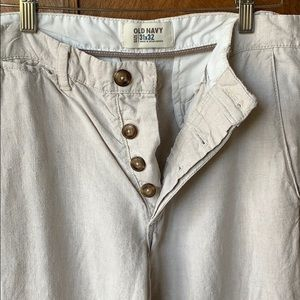 Old Navy linen button fly pants oatmeal color